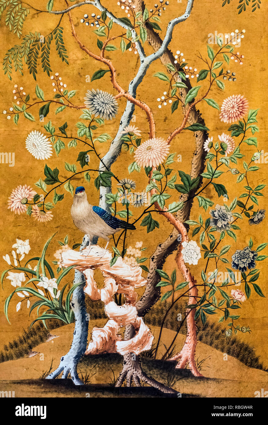 Antique hand painted Chinese wallpaper. - Stock Image