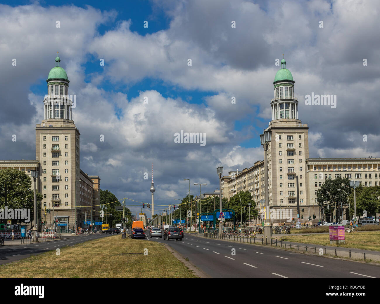 Berlin, Germany - main avenue during of the GDR (East Germany), Karl Marx Allee presents many beautiful buildings. Here its soviet architecture - Stock Image