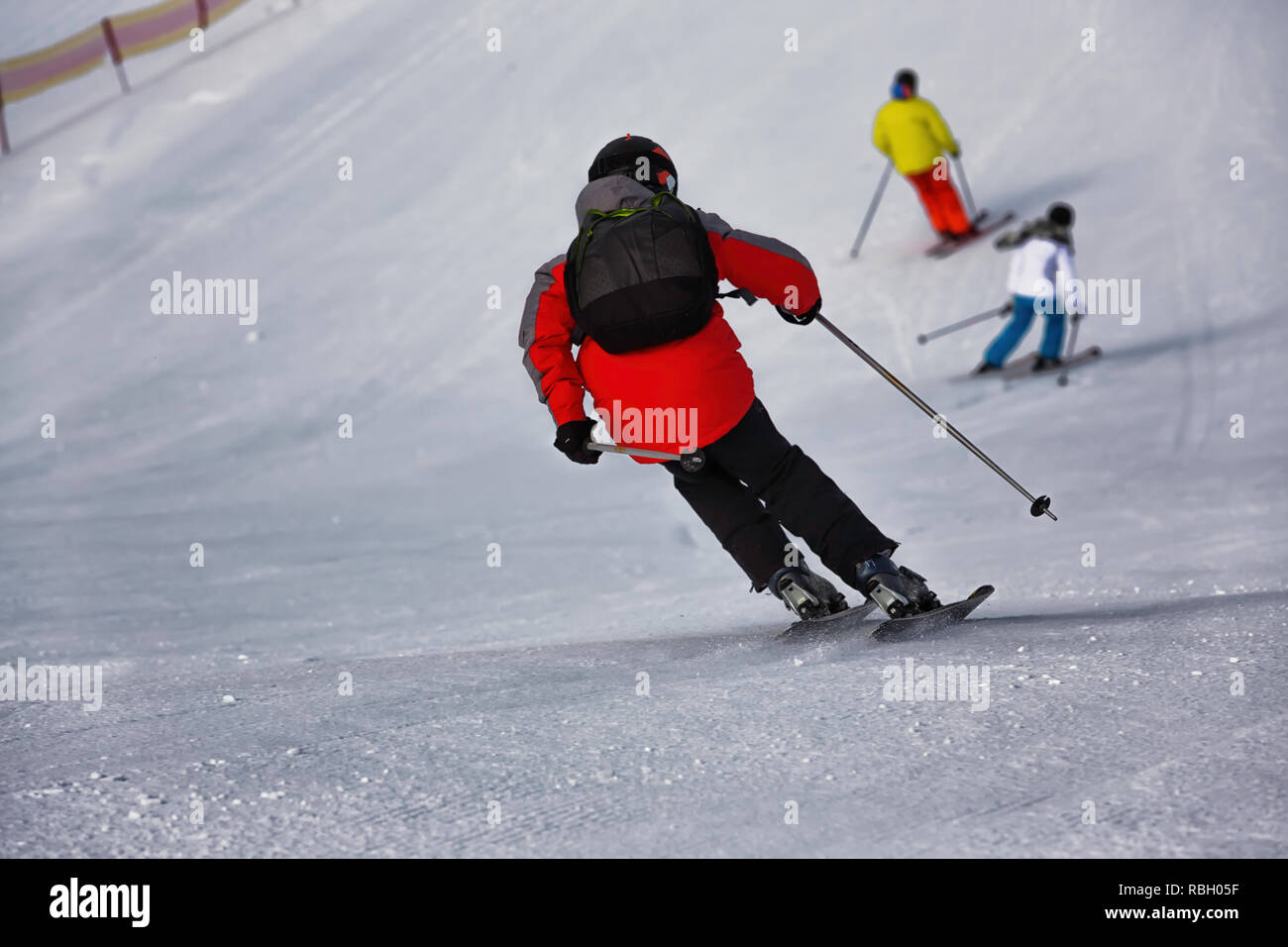 people on ski run - Stock Image