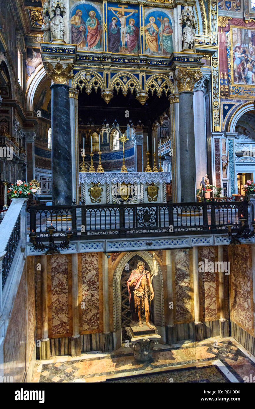 Rome, Italy - October 04, 2018: Statue of St. John the Baptist inside of Basilica di San Giovanni in Laterano Stock Photo