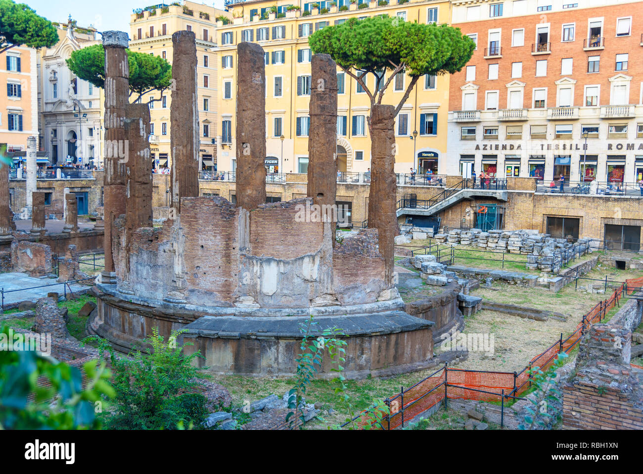 Rome, Italy - October 04, 2018: Area Sacra di Largo Argentina is square ruins in Rome - Stock Image