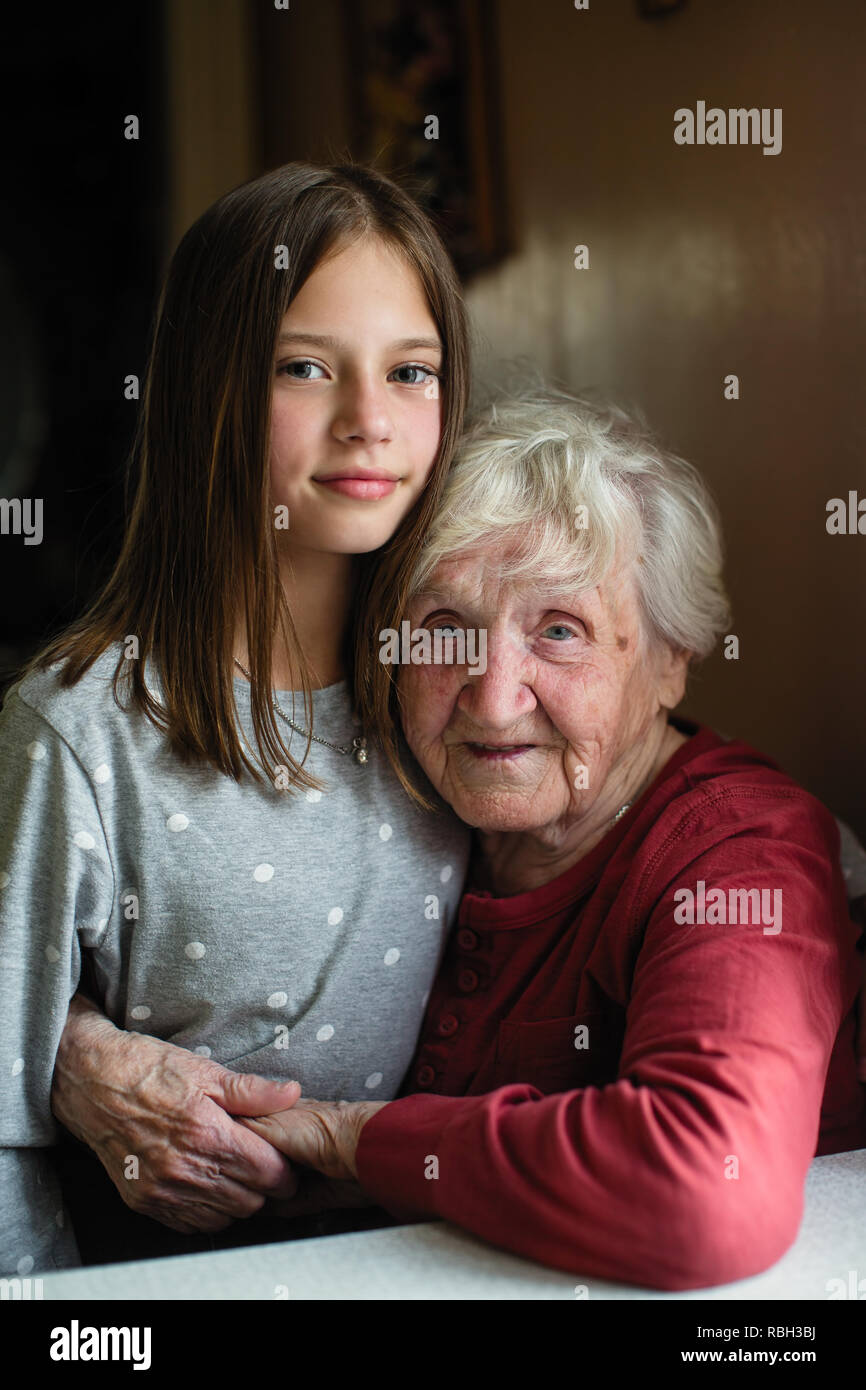 Old Woman Sitting Mature Daughter Stock Photos Old Woman Sitting