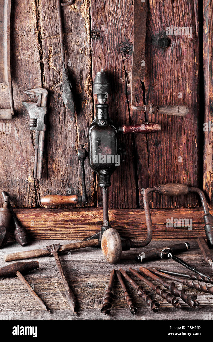 old tool in a workshop Stock Photo