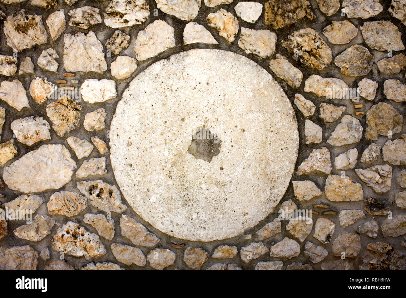 White Cemented Round Shape With Hole In Center Big Circle Design