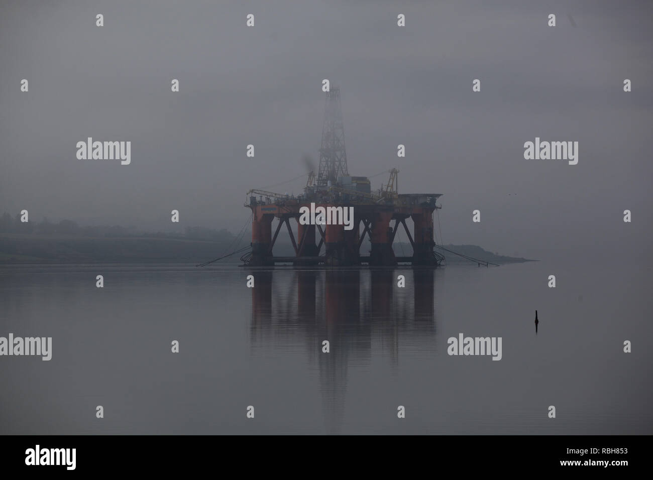 Redundant Oil Rig in The Scots Mist Invergordon, Ross Shire Scottish Highlands UK - Stock Image