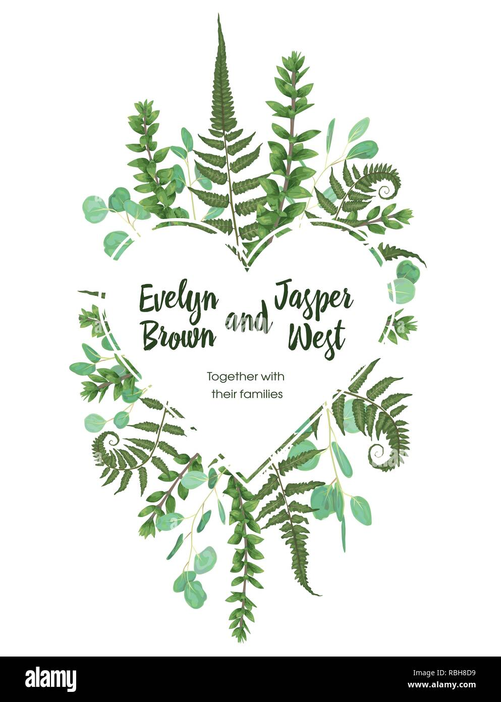 Valentine greeting card, invite card. Vector watercolor style herbs, eucalyptus,  forest fern, waxflower. Natural, branches boxwood, buxus. Botanical  - Stock Image