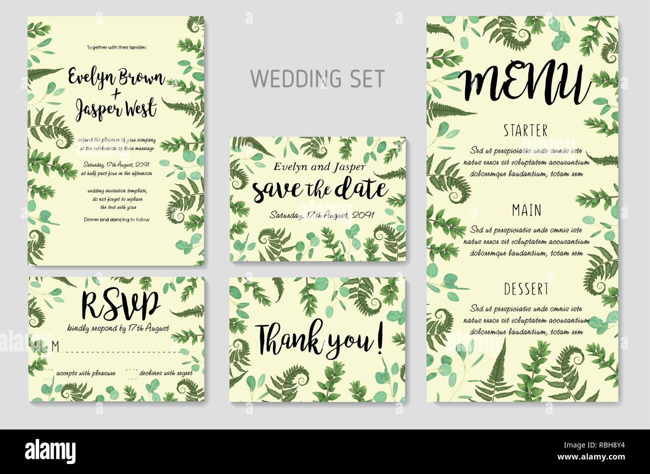 Wedding Invitation Floral Invite Thank You Rsvp Card Design