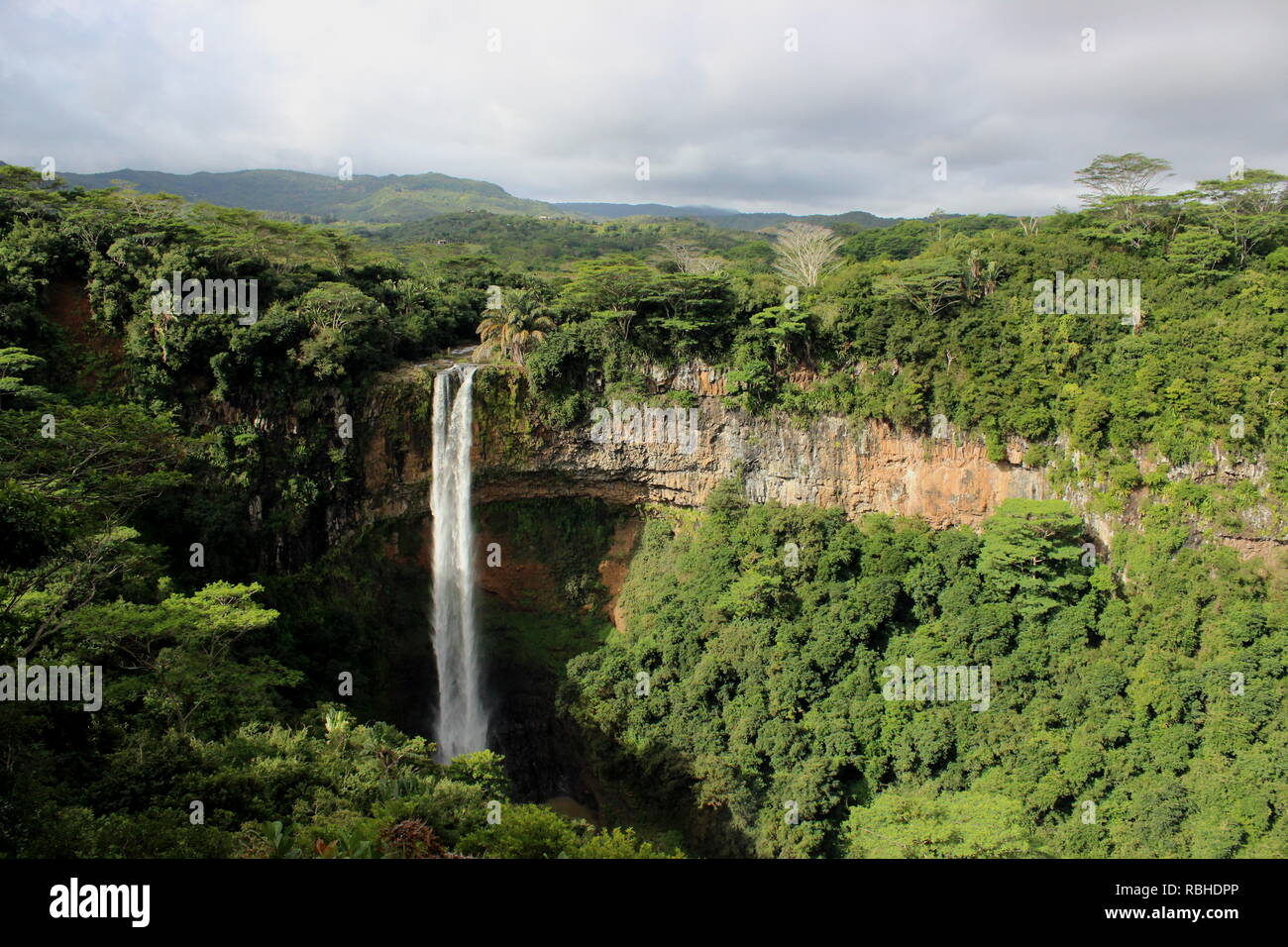 Chamarel waterfall, the highest waterfall in Mauritius - Stock Image