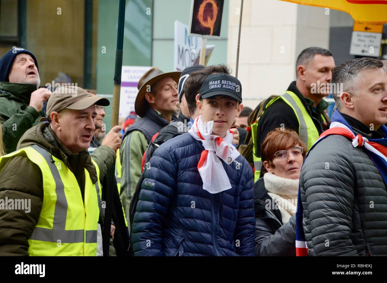 a man in gilet jaunes jacket and a make britain great again hat at the brexit betrayal march in london 2018 - Stock Image