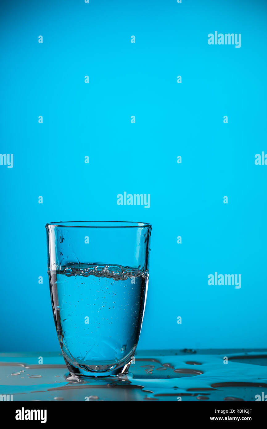 Glass of water ,studio photo - Stock Image