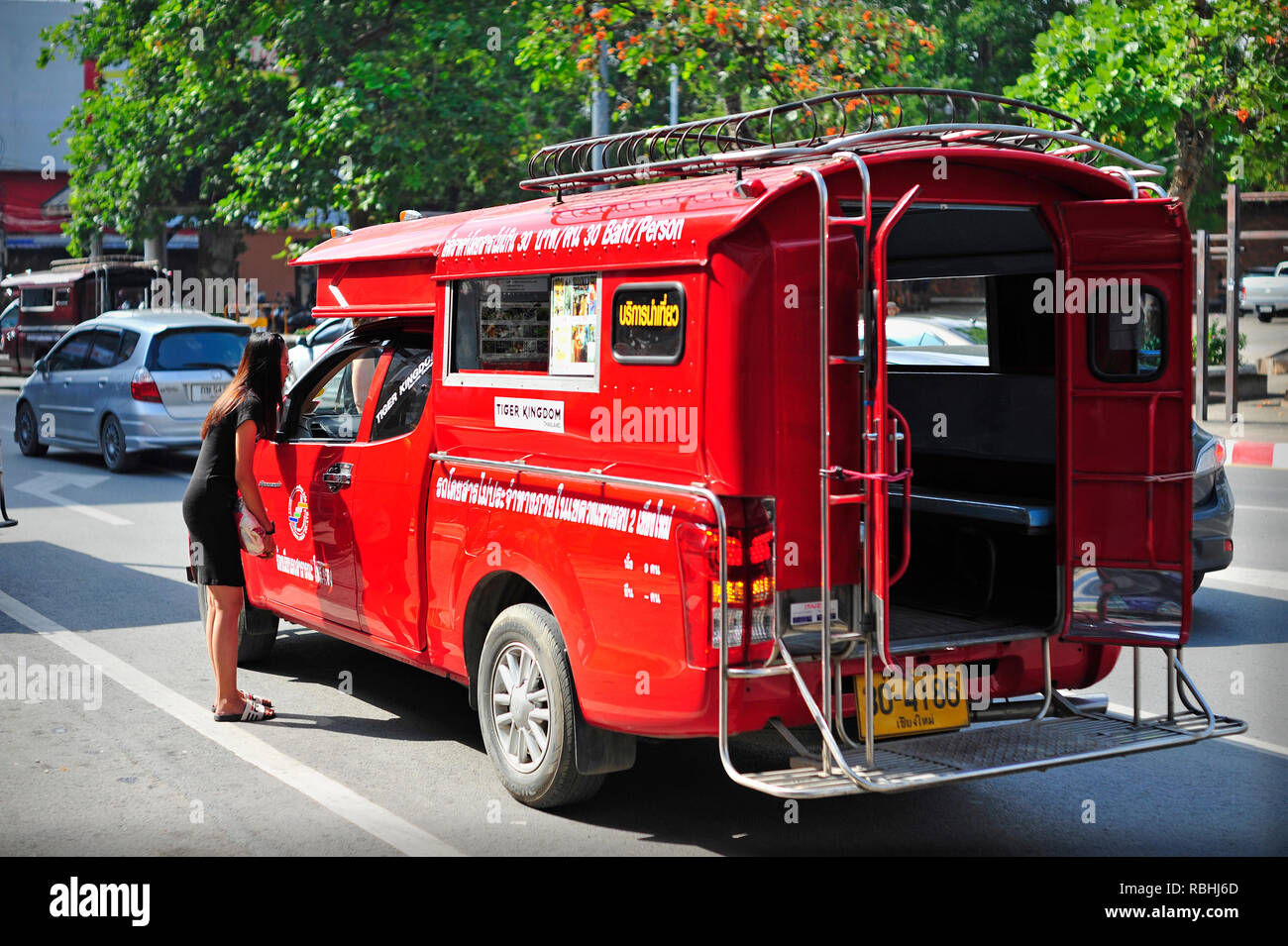 Songthaew Red Bus Chiang Mai Thailand - Stock Image