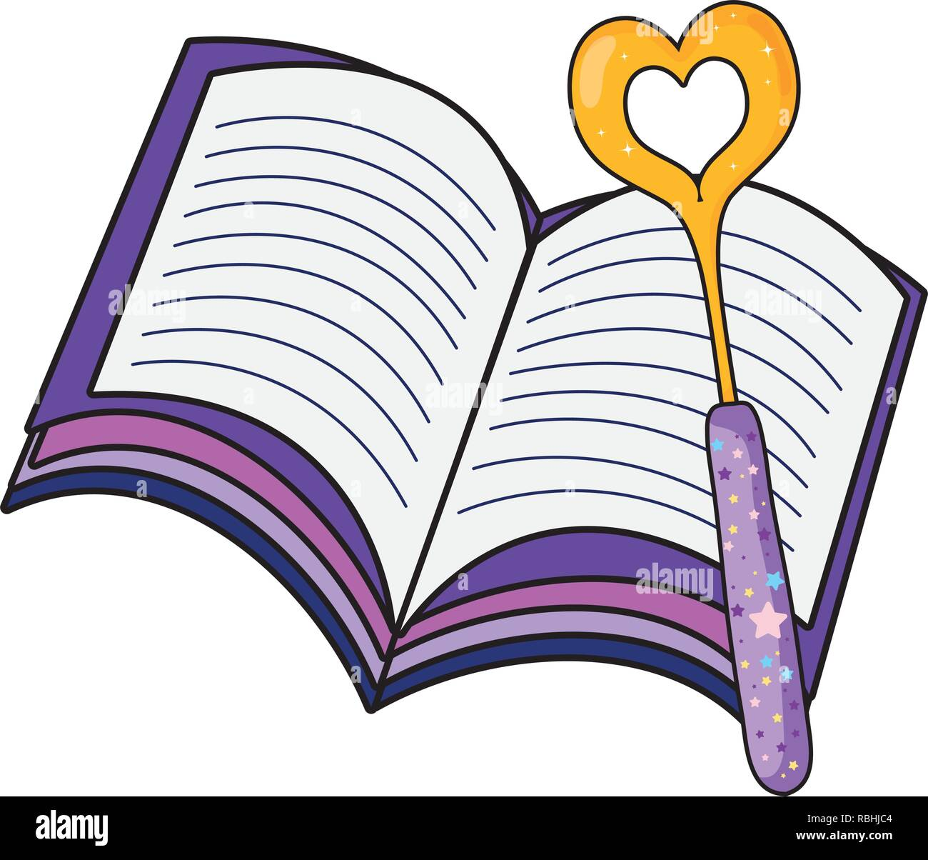magic wand with heart and book Stock Vector