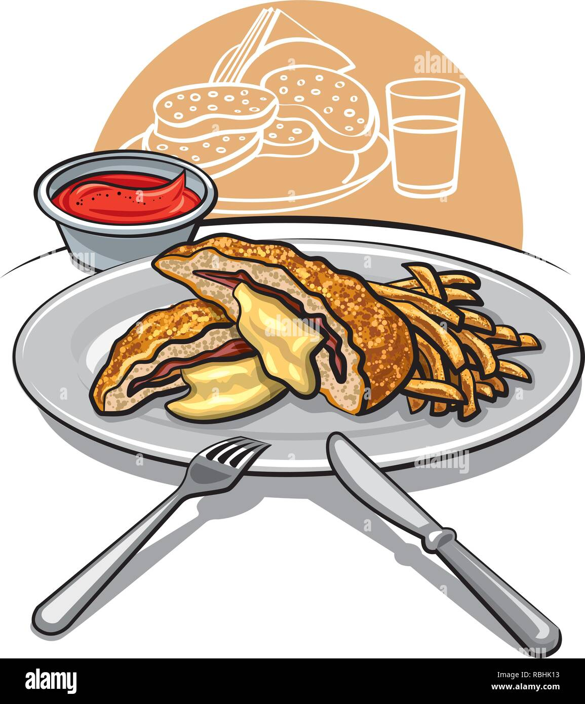 illustration of escalope with fries on a plate with tomato sauce - Stock Vector