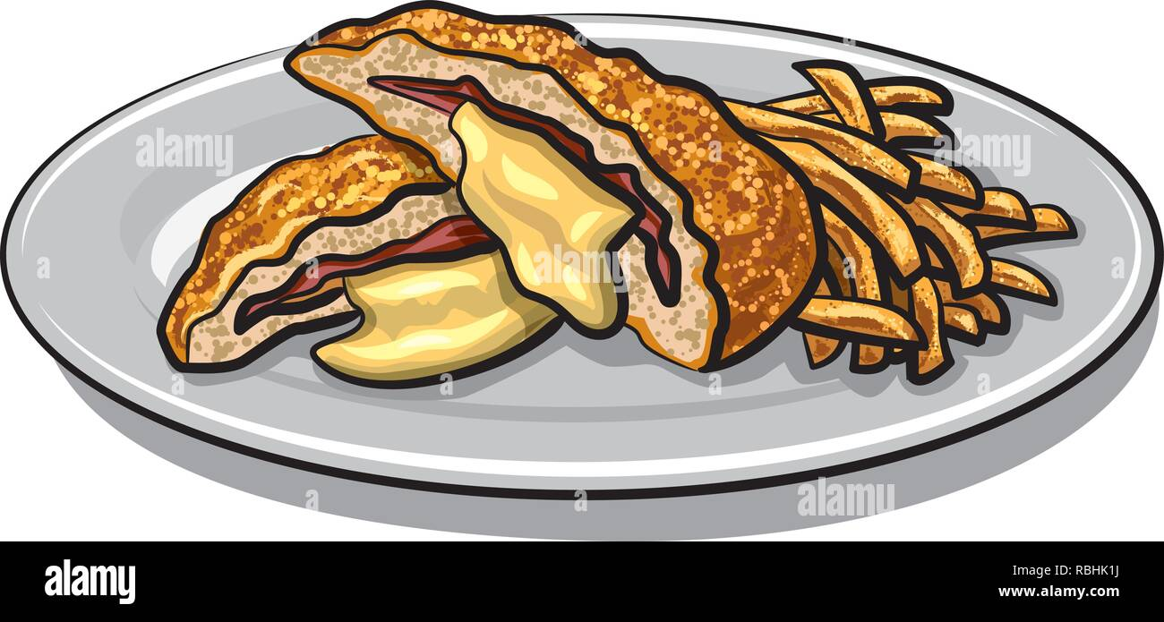 illustration of escalope with fries on a plate - Stock Vector