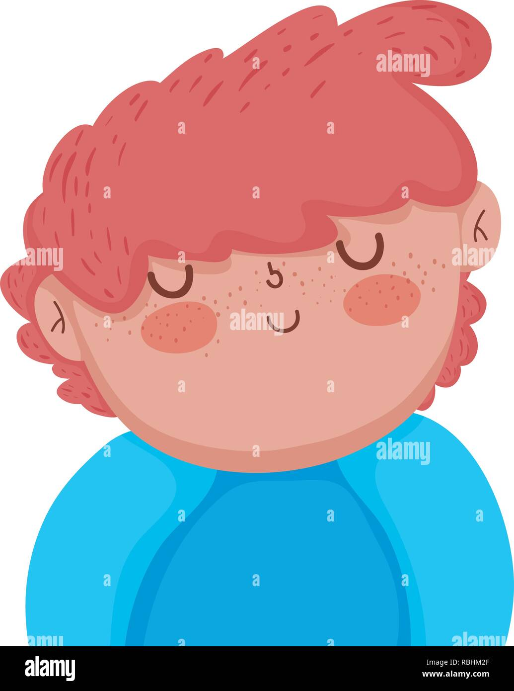 little chubby boy character - Stock Image