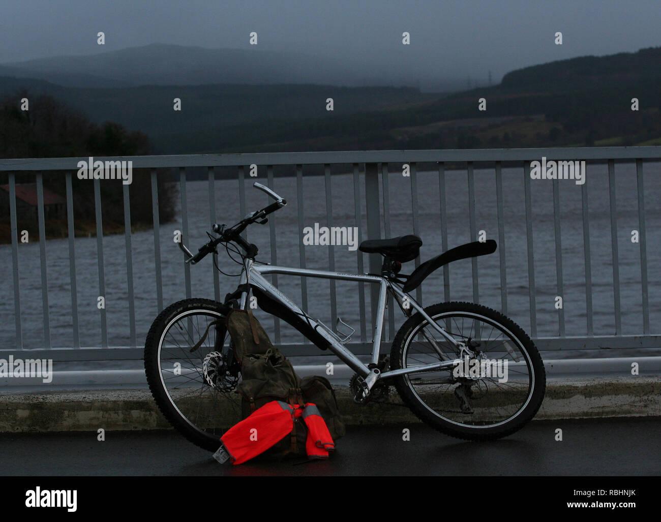 Resting Mountain Bike Scottish Highlands - Stock Image