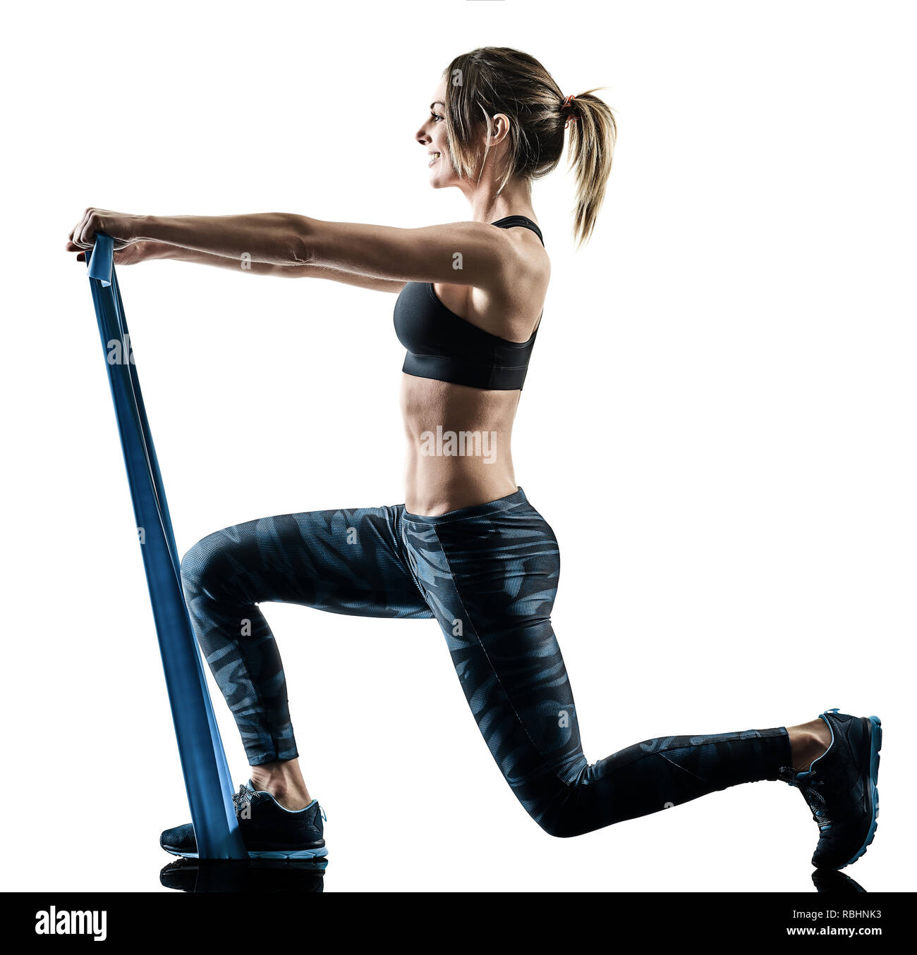 Woman Pilates Chair Exercises Fitness Stock Photo: Lunges Stock Photos & Lunges Stock Images