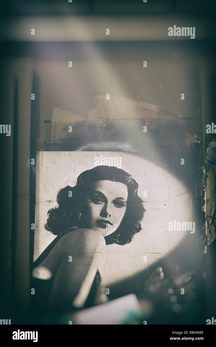 classic hollywood movie icon, graffiti-melbourne - Stock Image