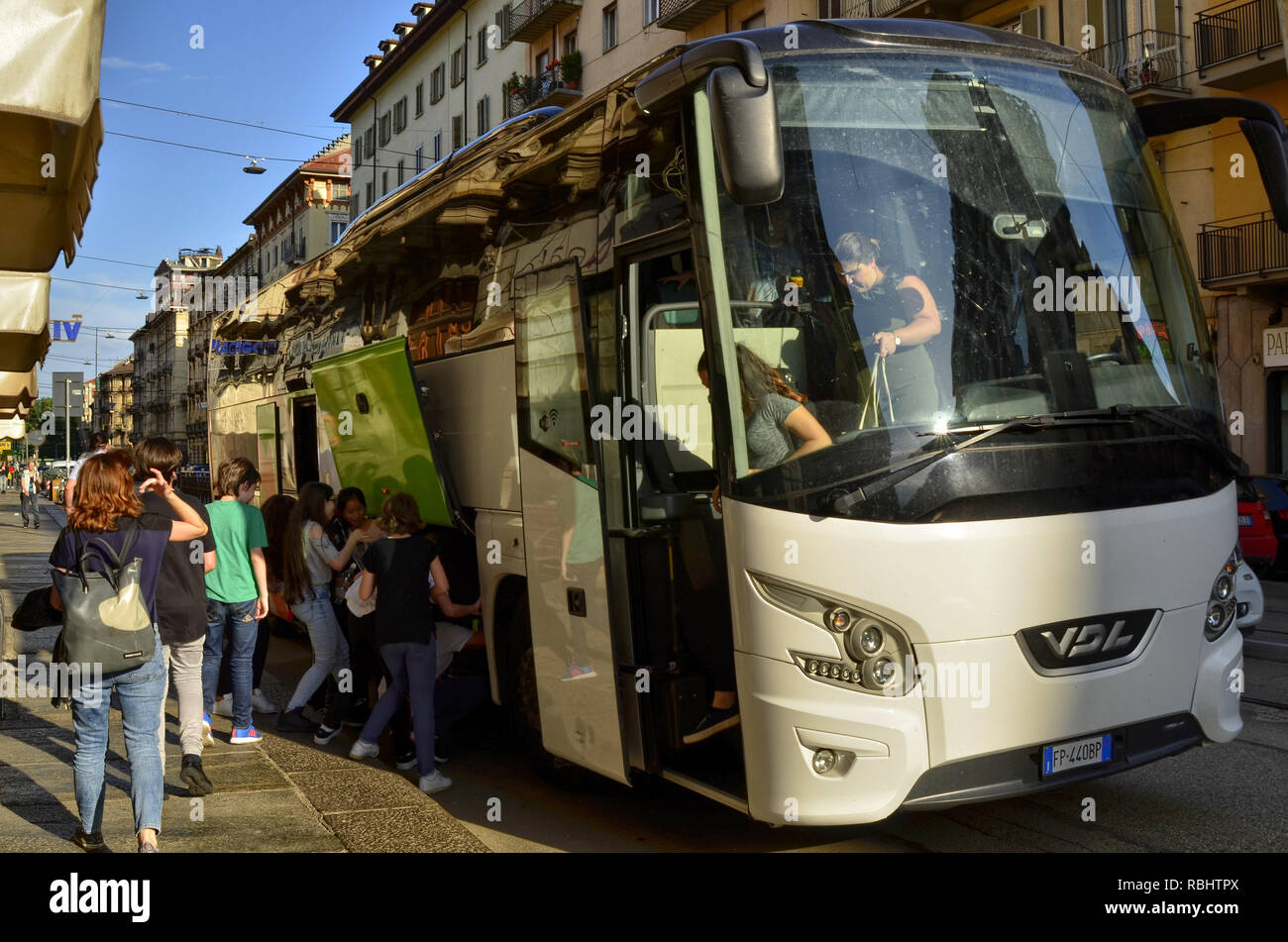 Turin, Piedmont, May 2018, Italy. Return for the school year-end outing of a junior high school pupil. - Stock Image