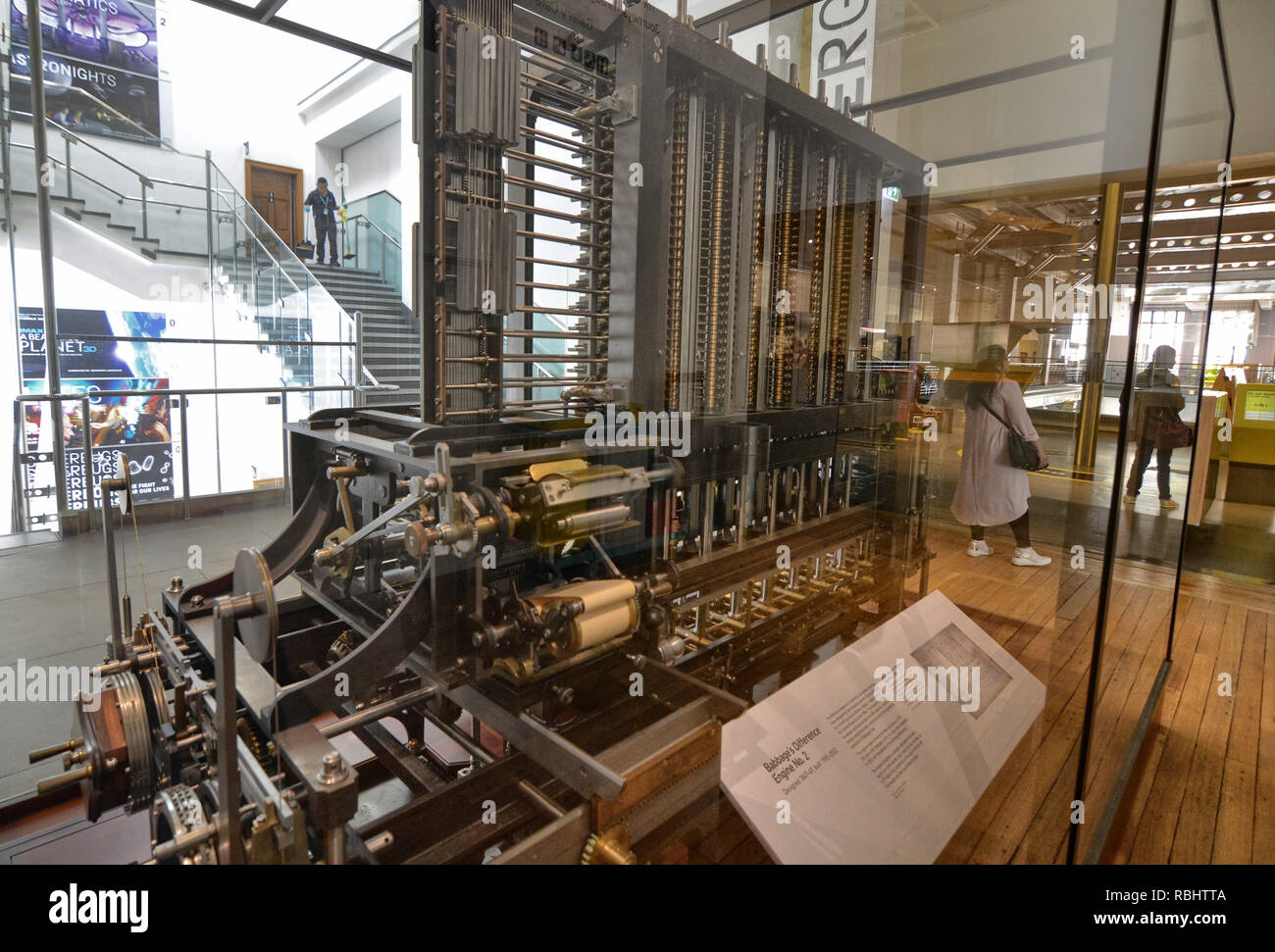 London, United Kingdom, June 2018. Babbage's machine is the progenitor of modern computers. It is a mechanical analogic computer, conserved at the Lon - Stock Image