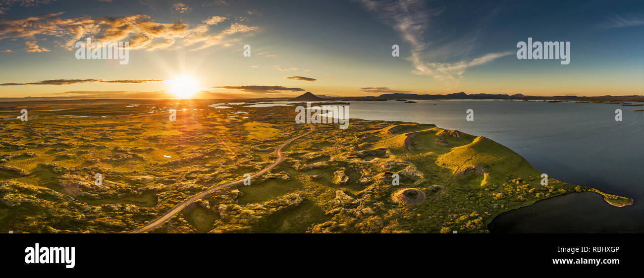 Drone view - Pseudo craters, Lake Myvatn, Iceland - Stock Image