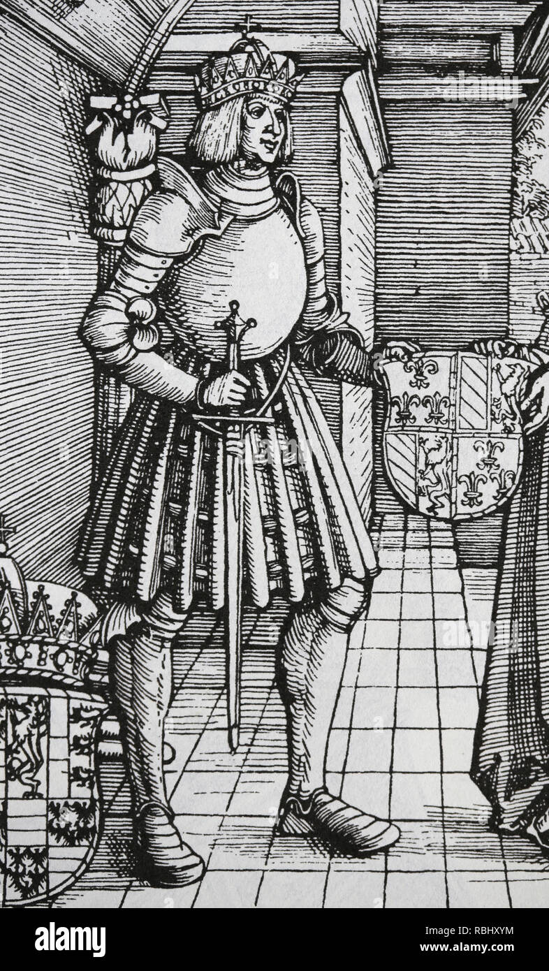 Maximilian I (1459-1519). Holy Roman Emperor. Engraving by Durer. The betrothal of Maximilian I with Mary of Burgundy. Detail. - Stock Image