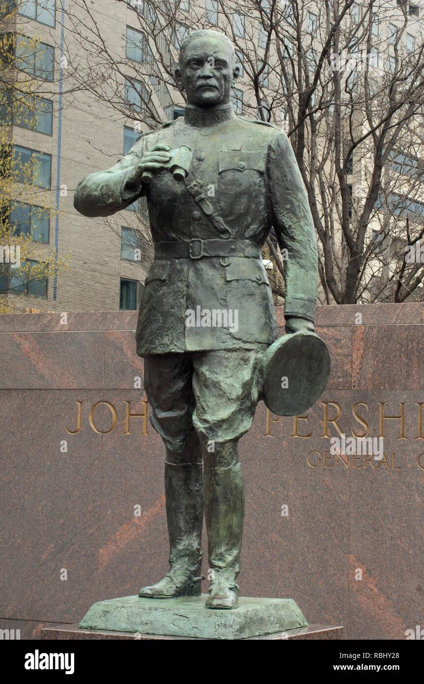 Statue of World War I US Army General John J. Pershing, Washington, DC. Digital photograph - Stock Image