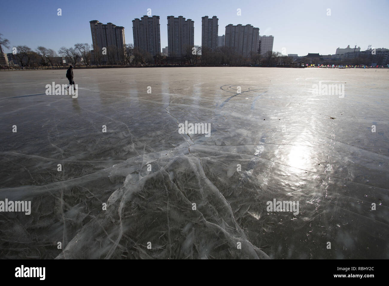 Jili, China. 10th Jan, 2019. Frozen lake at Beishan Park in northeast China's Jilin Province. Credit: SIPA ASIA/Pacific Press/Alamy Live News - Stock Image