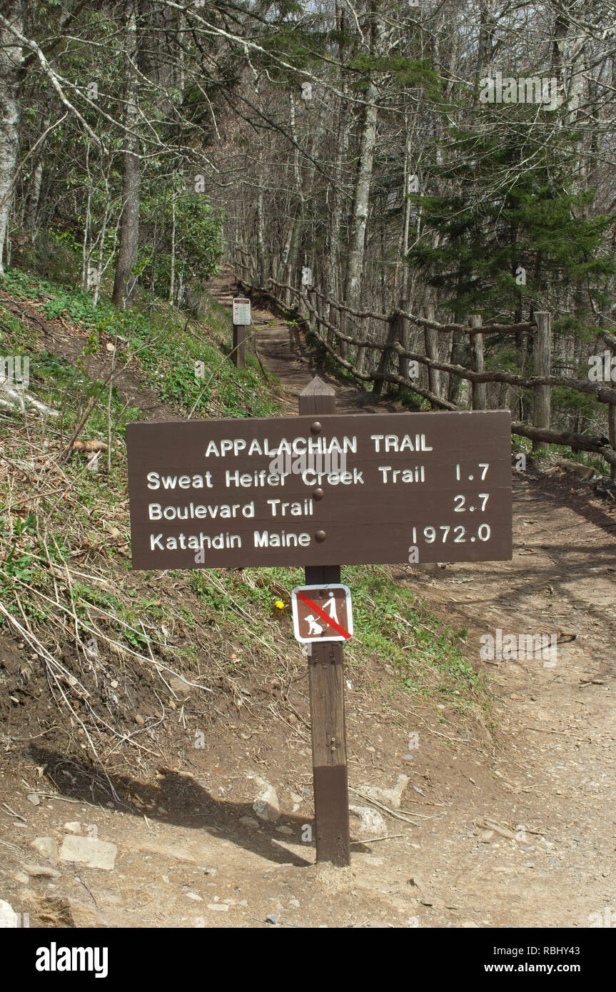 Appalachian Trail mileage sign, Great Smokey Mountains National Park, border of NC and TN. Digital photograph - Stock Image