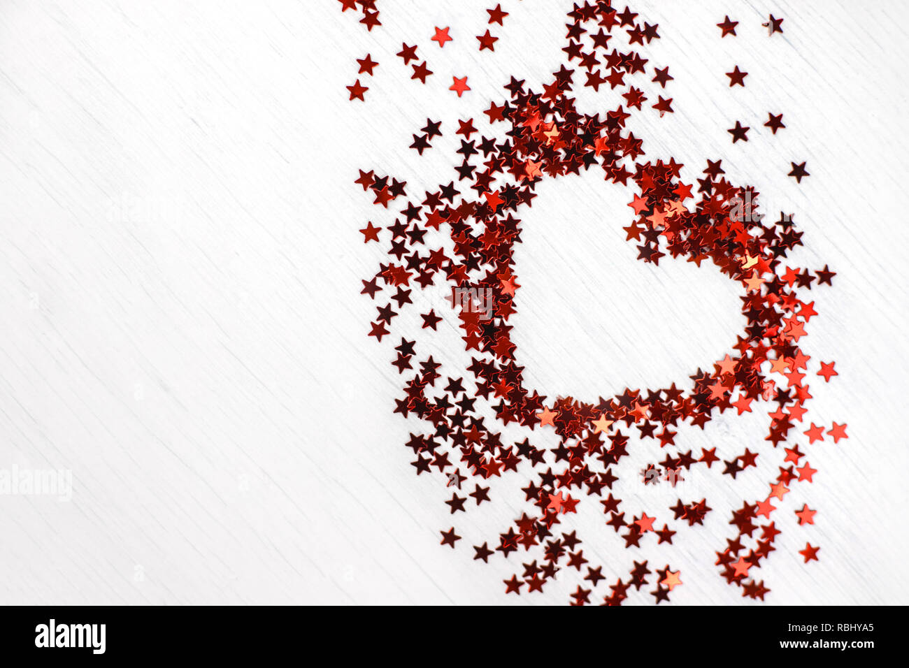 Glitter red heart from little sparkle stars. - Stock Image