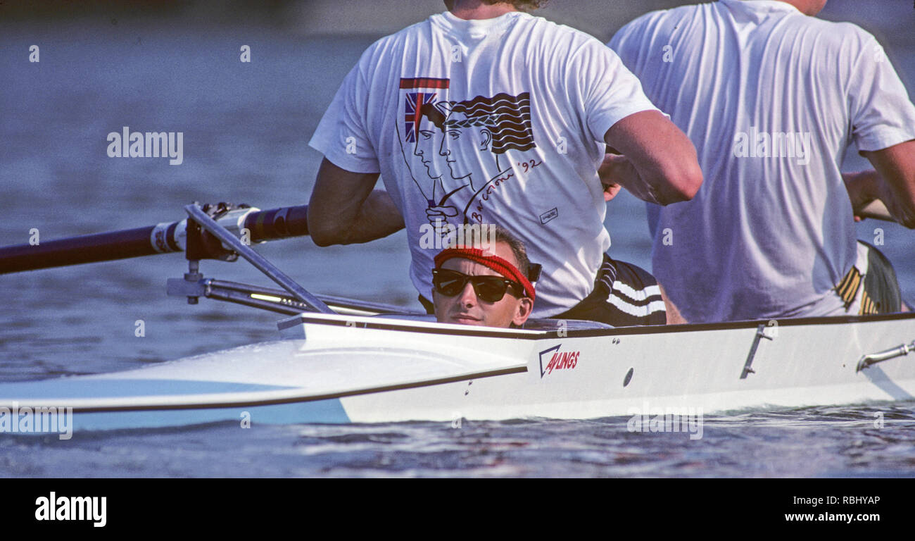 Barcelona, SPAIN. Gold Medalist, GBR M2+, Bow Jonny SEARLE and Greg SEARLE with cox, Gary HERBERT.  move into the awards dock. 1992 Olympic Rowing Regatta Lake Banyoles, Catalonia [Mandatory Credit Peter Spurrier/ Intersport Images] Last time Men's coxed pair raced at the Olympics, Stock Photo