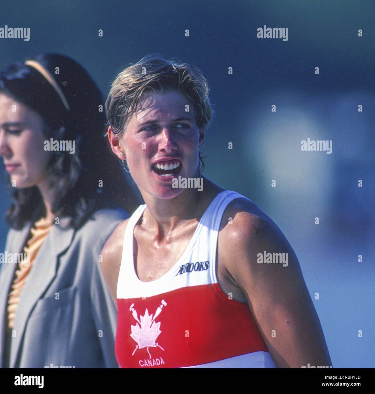 Barcelona Olympic Games 1992 Olympic Regatta - Lake Banyoles CAN W1X, Silken LAUMANN  on awards dock.; Women's Single Medals,  {Mandatory Credit: © Peter Spurrier/Intersport Images] Stock Photo