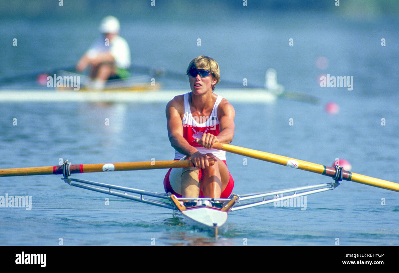Barcelona Olympic Games 1992 Olympic Regatta - Lake Banyoles CAN W1X. Silken Laumann on Rowing,  with Bandaged Leg, after a collision with another boat at an earlier European Regatta, {Mandatory Credit: © Peter Spurrier/Intersport Images] Stock Photo