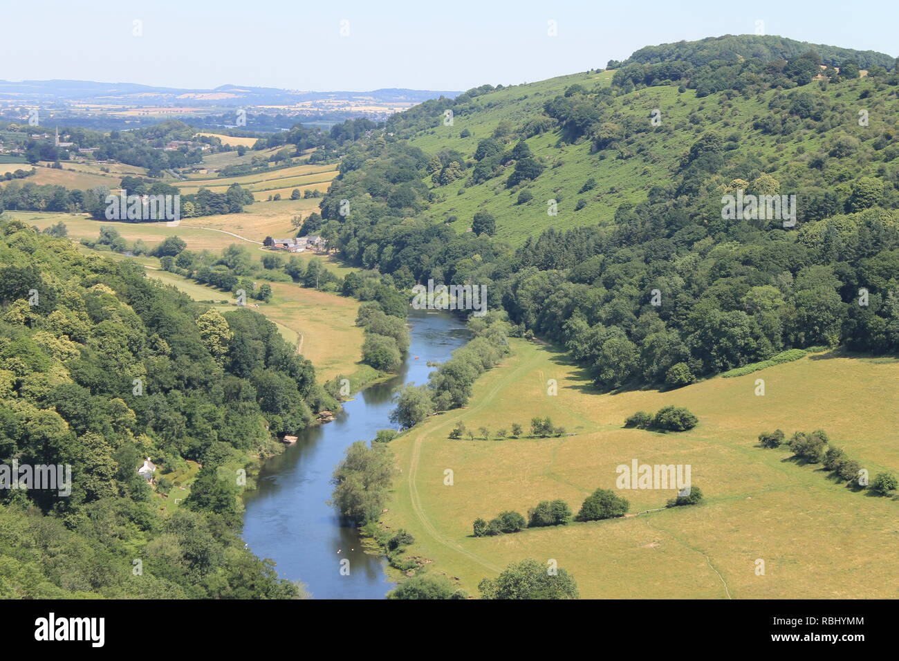 River Wye and Coppet Hill from Symonds Yat Rock, Herefordshire, England, UK - Stock Image
