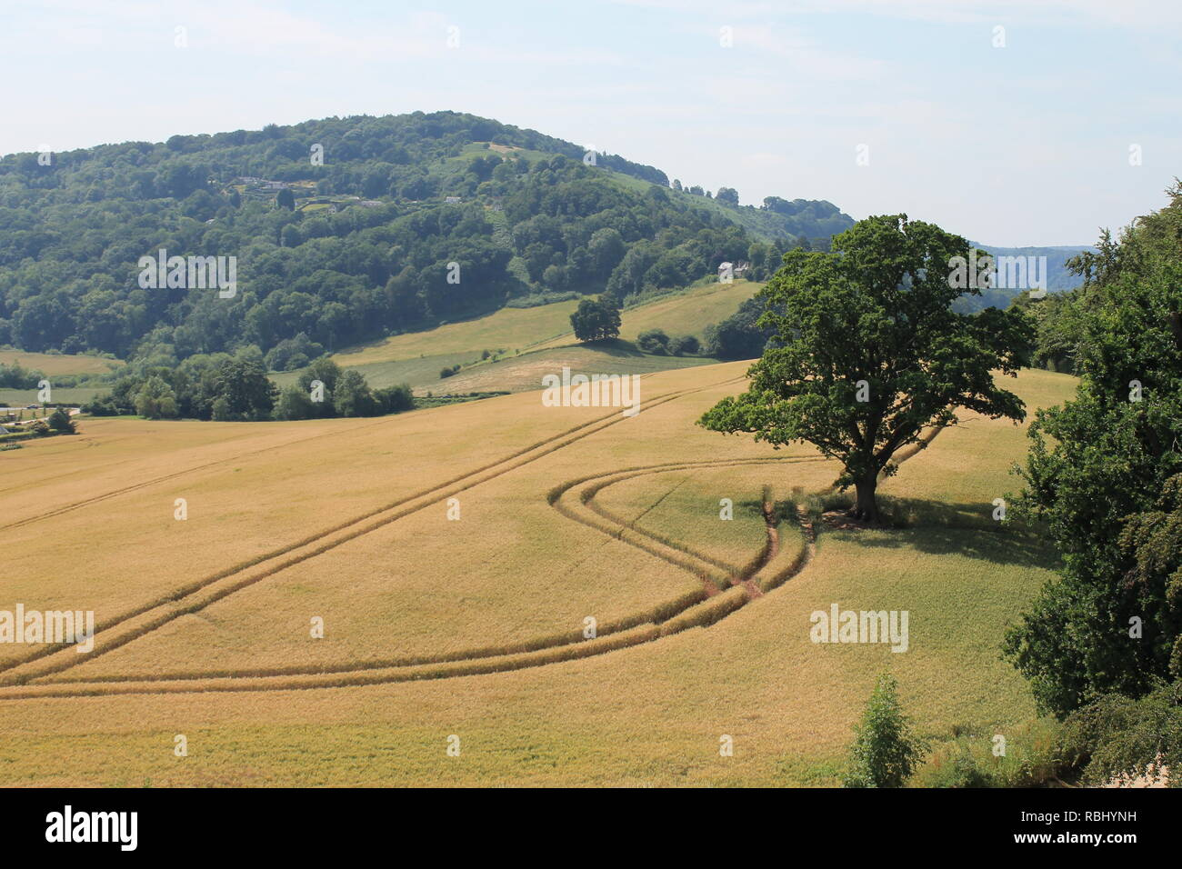 Coppet Hill from Goodrich Castle, Goodrich, Wye Valley, Herefordshire, England, UK - Stock Image