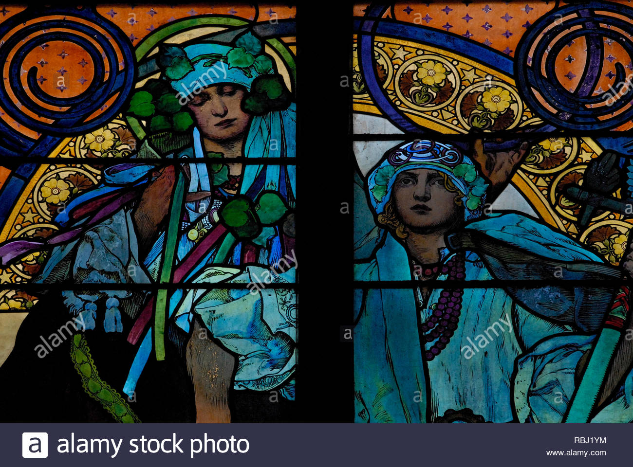 Prague, Czech Republic: Slavic symbol, Slavia, used by artist Alfred Mucha as emblem for bank that funded his cathedral glass to SS Cyril & Methodius. - Stock Image