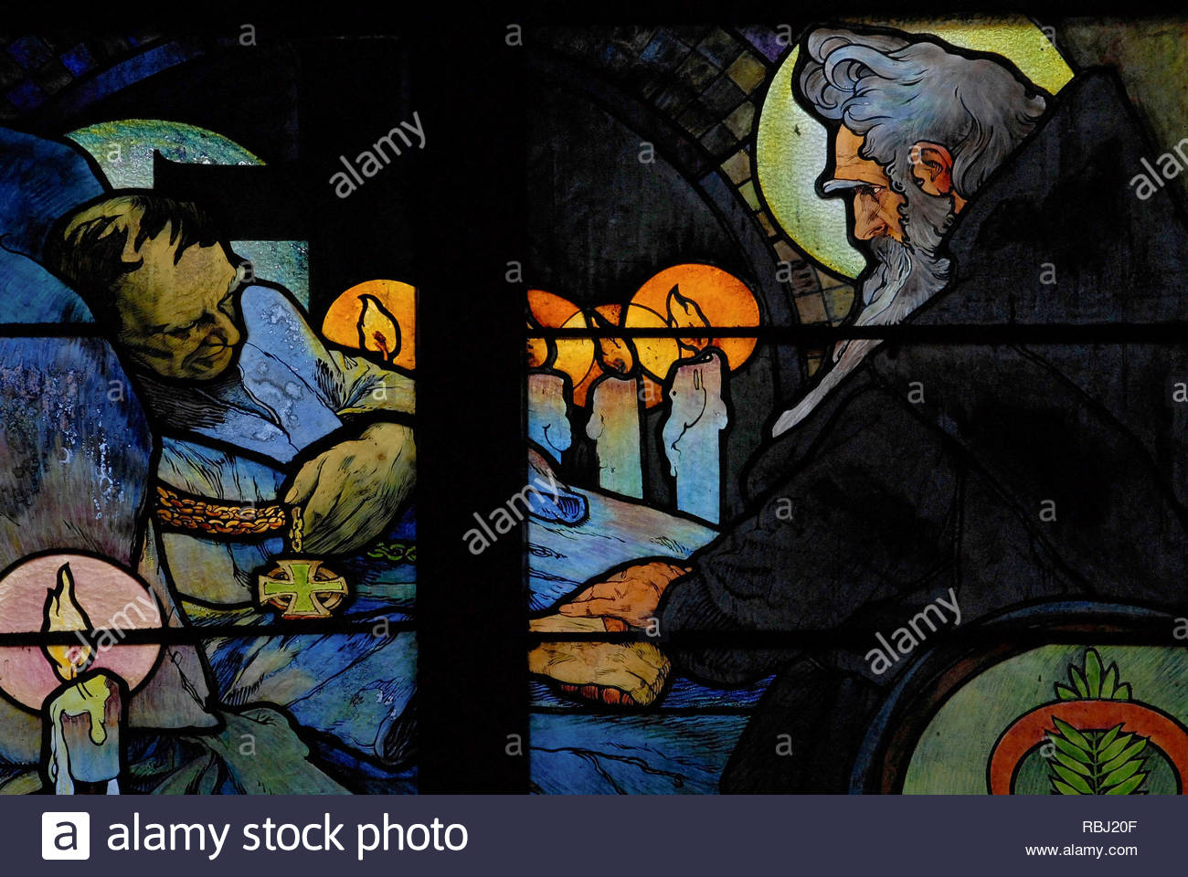 Prague, Czech Republic: death of St. Cyril - detail, Alfons Mucha 1931 Art Nouveau cathedral glass on 'Apostles to the Slavs', SS. Cyril & Methodius. - Stock Image