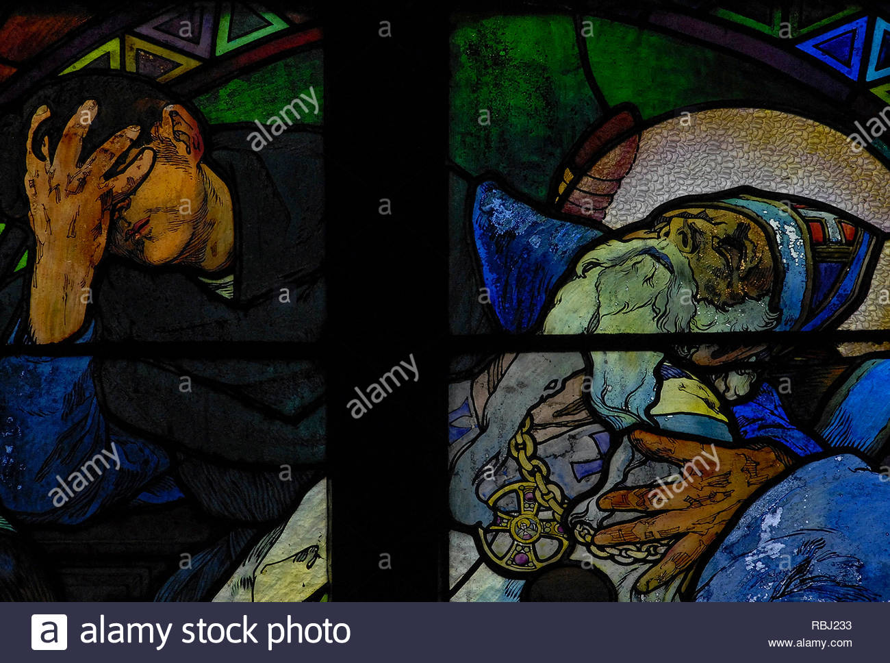 Prague, Czech Republic: death of St Methodius - detail, Alfons Mucha 1931 Art Nouveau cathedral glass on 'Apostles to the Slavs' SS Cyril & Methodius. - Stock Image