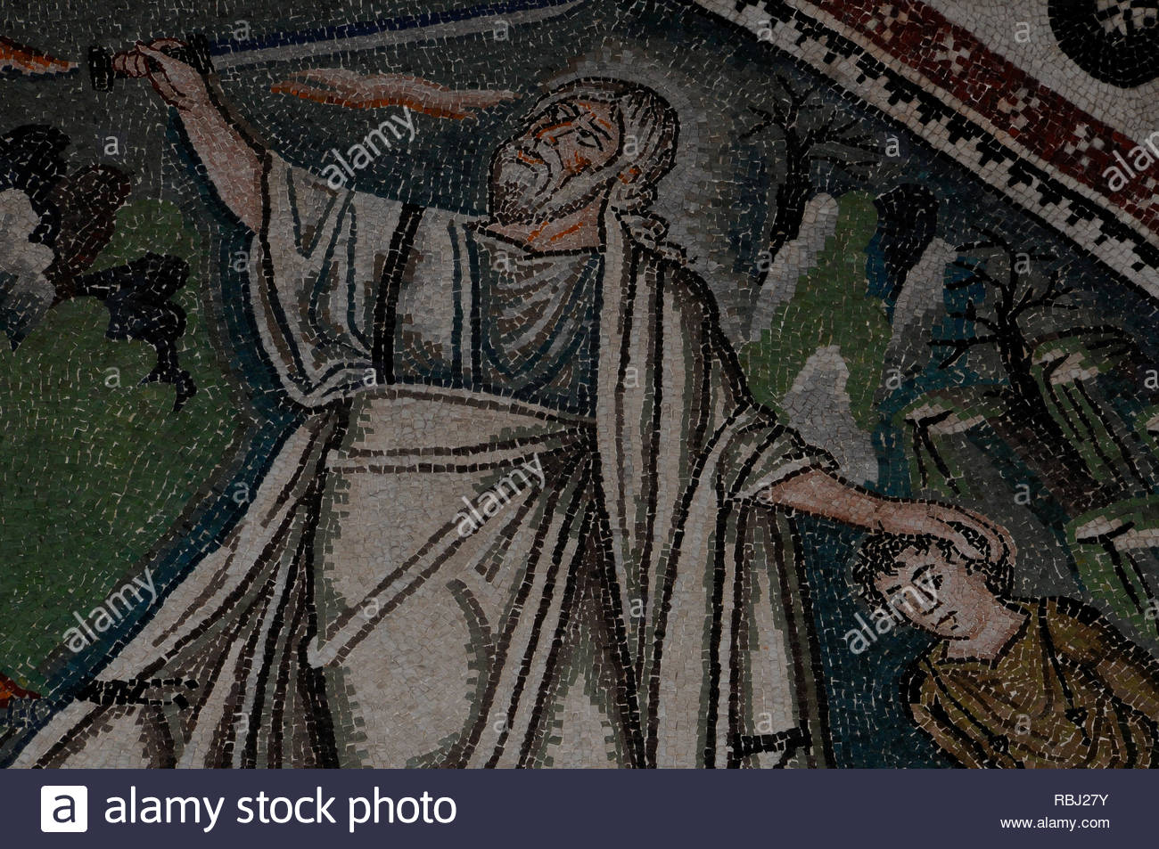 Ravenna, Emilia-Romagna, Italy: San Vitale Church 6th century Byzantine mosaic of Abraham preparing to obey God's will by sacrificing his son Isaac. - Stock Image