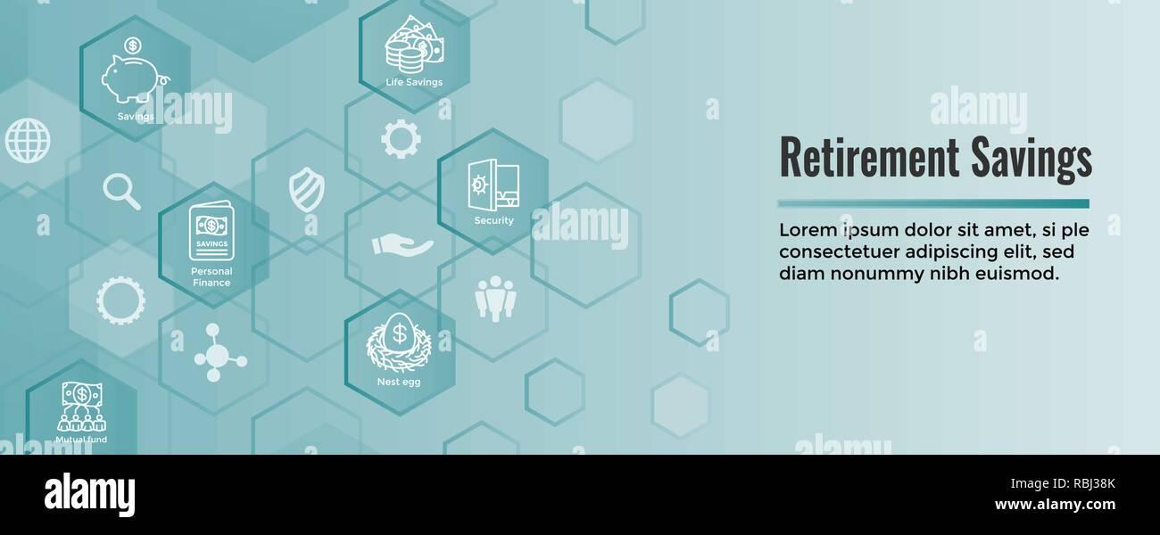 Retirement Account & Savings Icon Set Web Header Banner - Mutual Fund, Roth IRA, etc Stock Vector