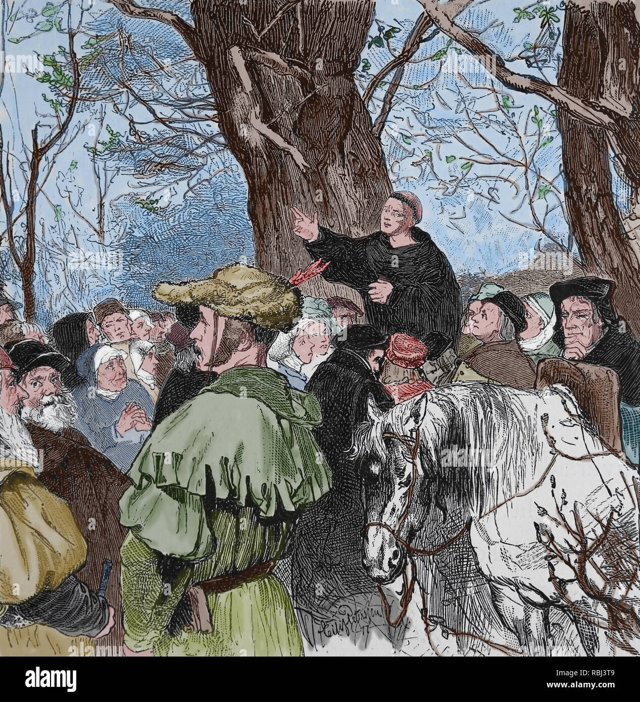German reformer Martin Luther (1483-1546) preaching to the crowd in Mora. Germania, 1882. - Stock Image