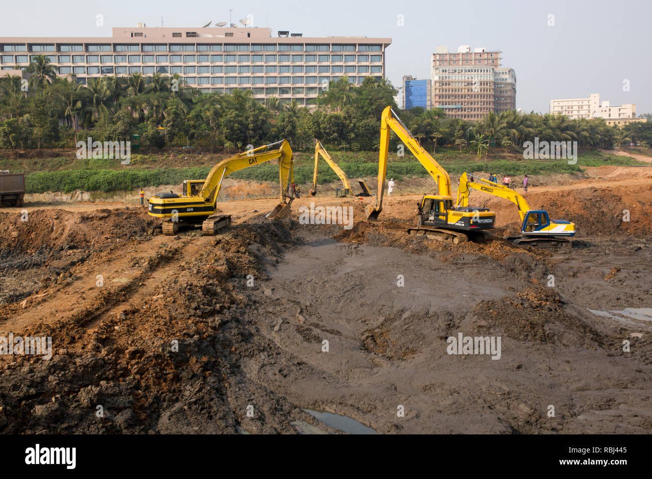 DHAKA, BANGLADESH - JANUARY 10 : Labors working at a development