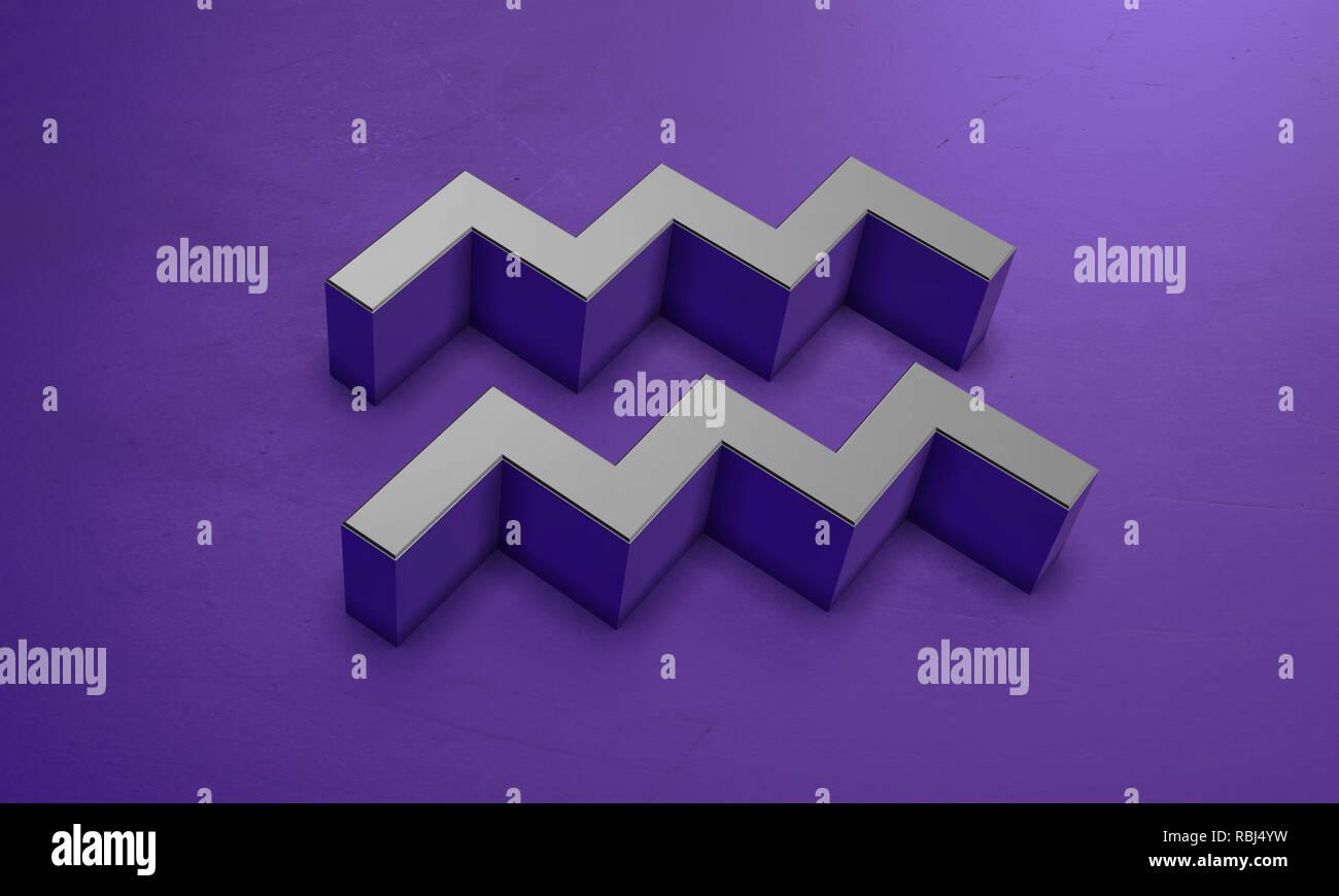Aquarius Astrology Symbol in 3D - Stock Image