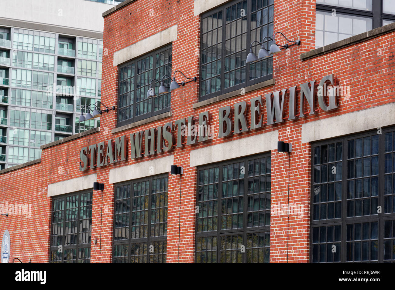 The Steam Whistle Brewing company building in Toronto, Canada - Stock Image
