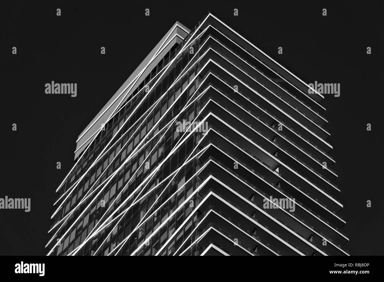 Detail of a modern apartment block in Toronto Canada - Stock Image