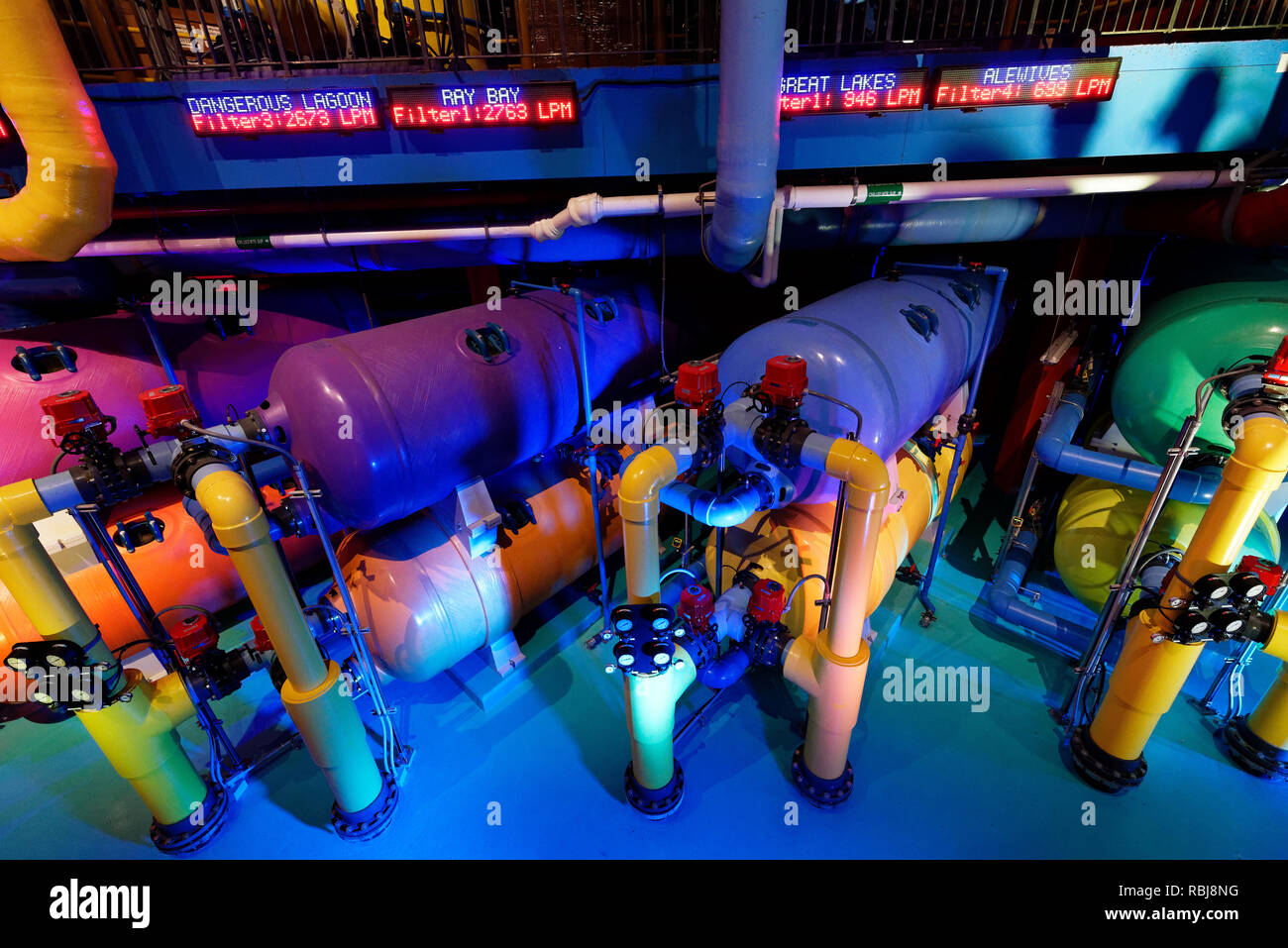 The pumps and filtration equipment for the tanks inside Ripley's Aquarium of Canada, Toronto, Ontario - Stock Image