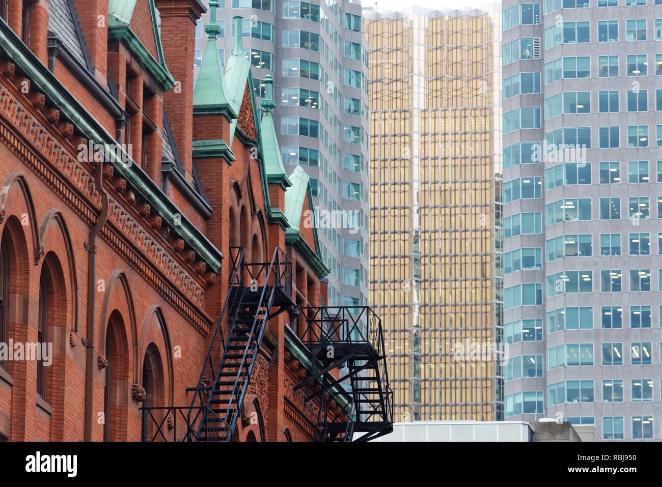 The Flatiron building (The Gooderham Building) on Wellington Street in Toronto, Canada - Stock Image