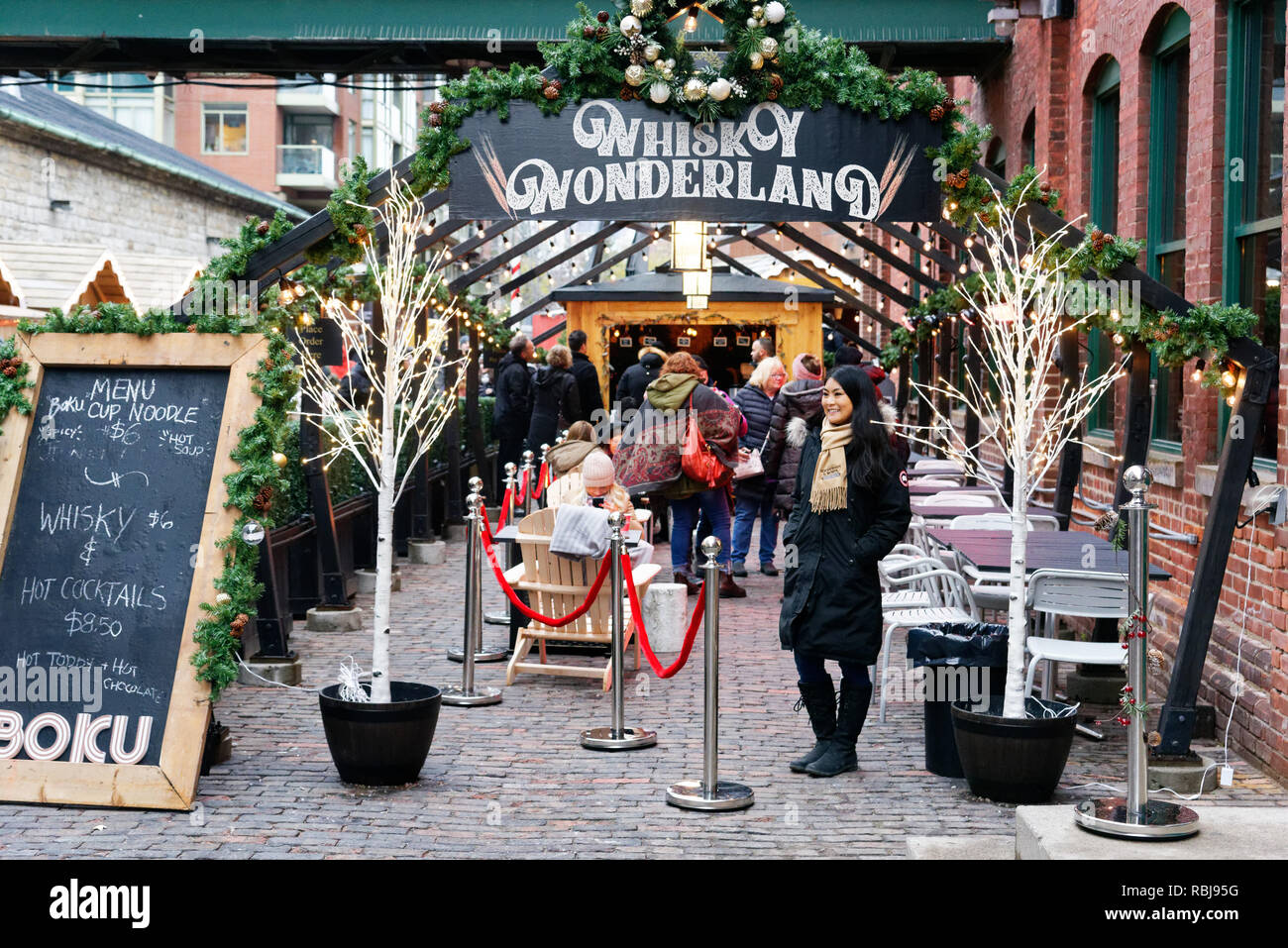 Whisky Wonderland Bar in Toronto Christmas Market in the Distillery District - Stock Image