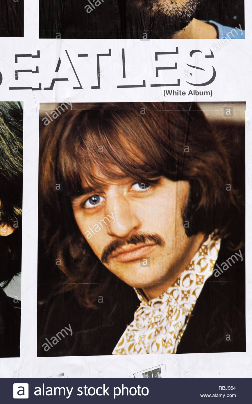A photo of Ringo Starr on a poster for The Beatles White Album on the streets of Toronto, Canada - Stock Image