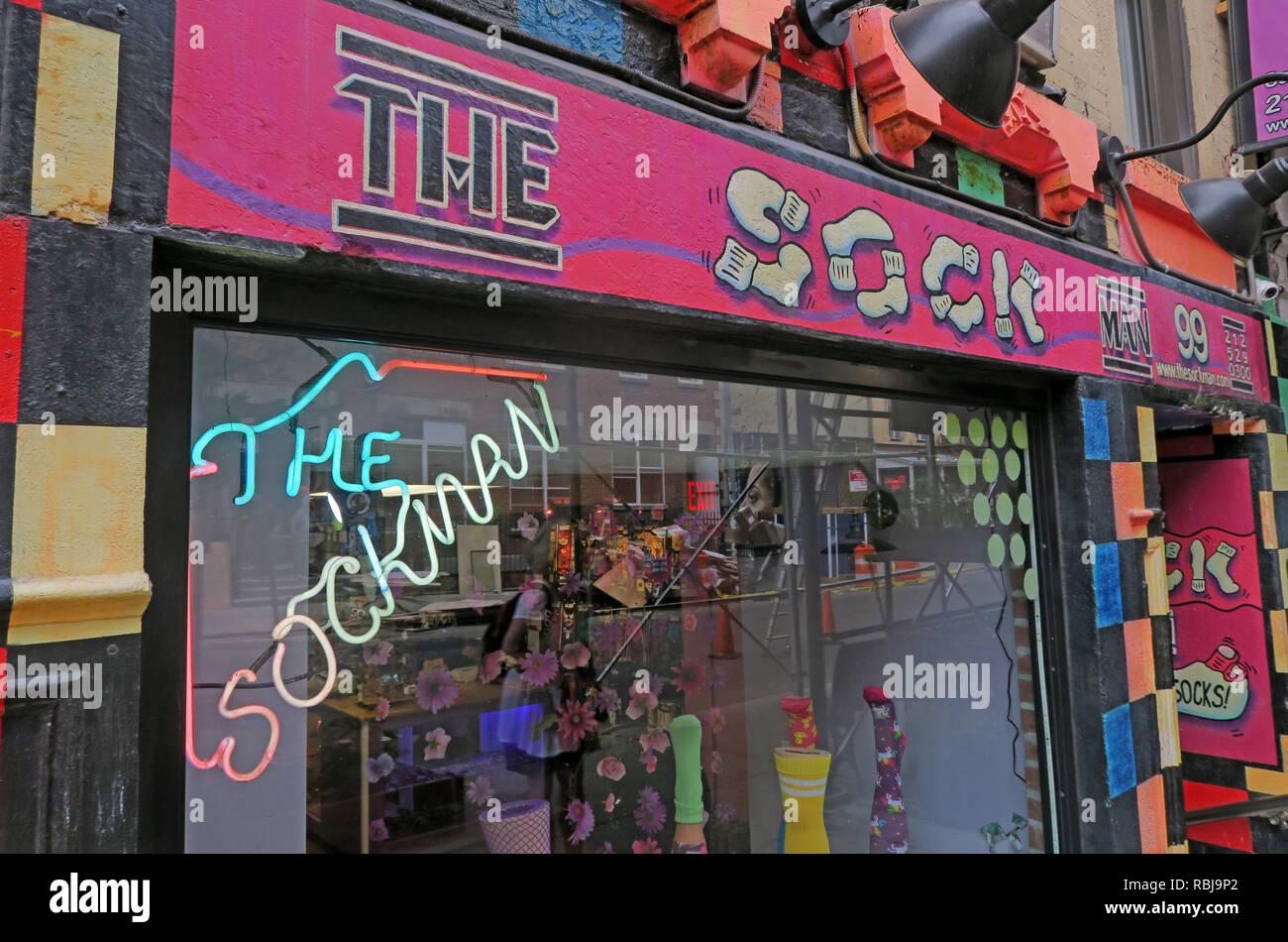 The pink sockman shop, quirky retail, 99 St Marks Pl, New York, NYC, USA - Stock Image